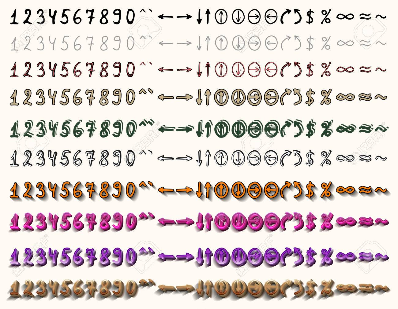 A Set Of Ten Variants In Different Styles The Numbers And Arrows