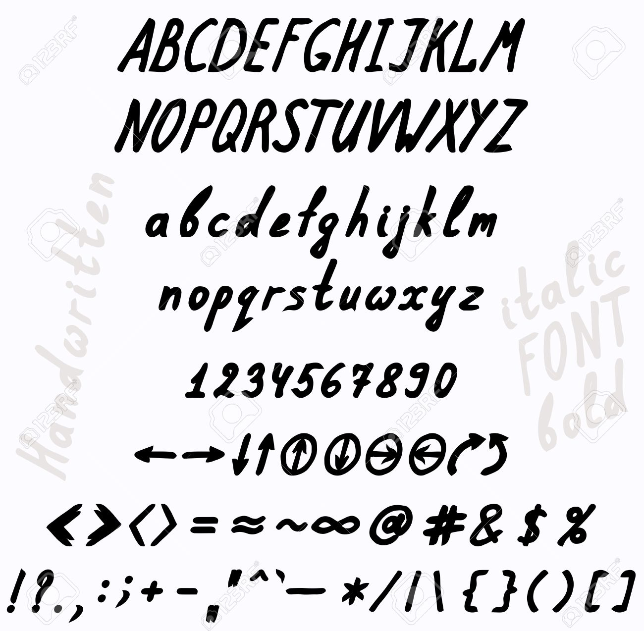 Handwritten Bold And Italics Font The Set Of Numbers Uppercase Lowercase Letters Punctuation