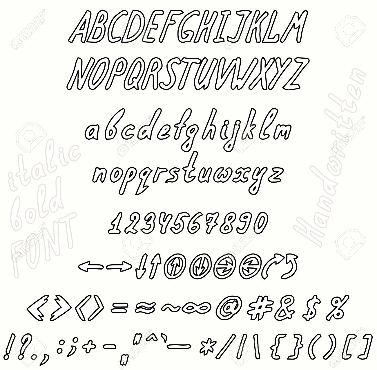 Handwritten Bold And Italic Font Invert The Set Of Numbers Uppercase Lowercase Letters