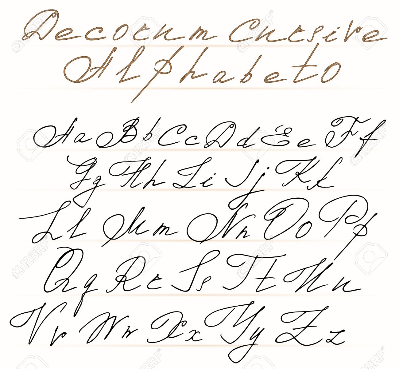 Elegant Cursive Alphabet Letters With Scrolls In The Rococo Style ...