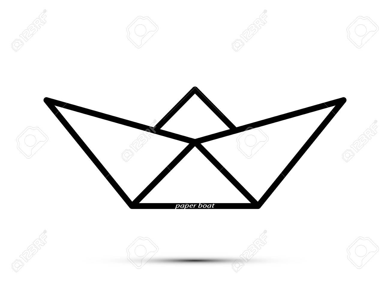 Vettoriale Logo Stilizzato è Una Barchetta Di Carta Con Le Parole