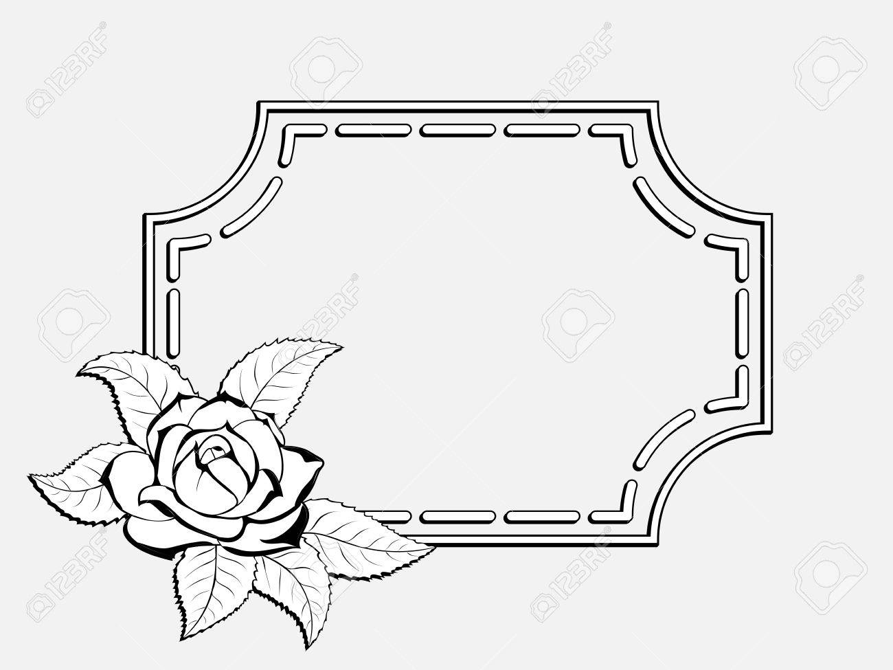 Decorative Black And White Frame For Greeting Cards And Greetings