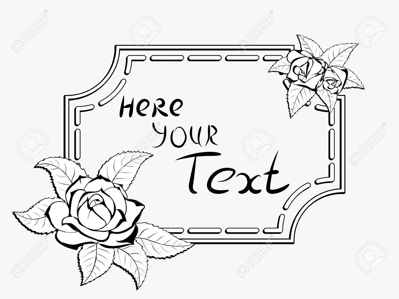 Decorative Stylized Black And White Frame For Greeting Cards