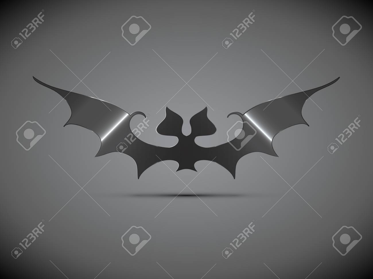 stylized steel halloween bat with shadow on dark background for