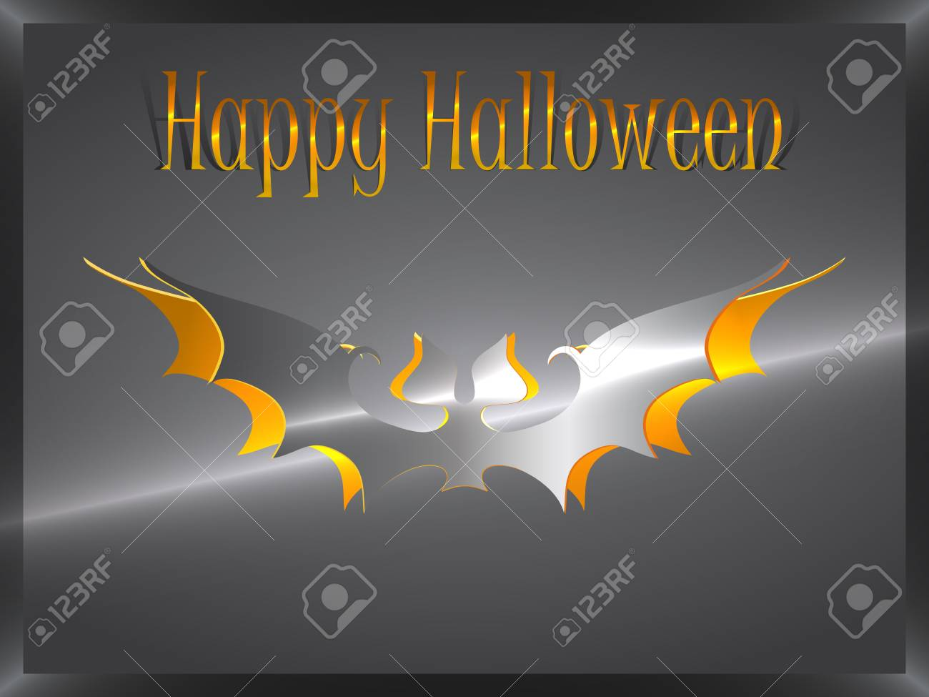cut foil halloween bat on a dark background and is signed with