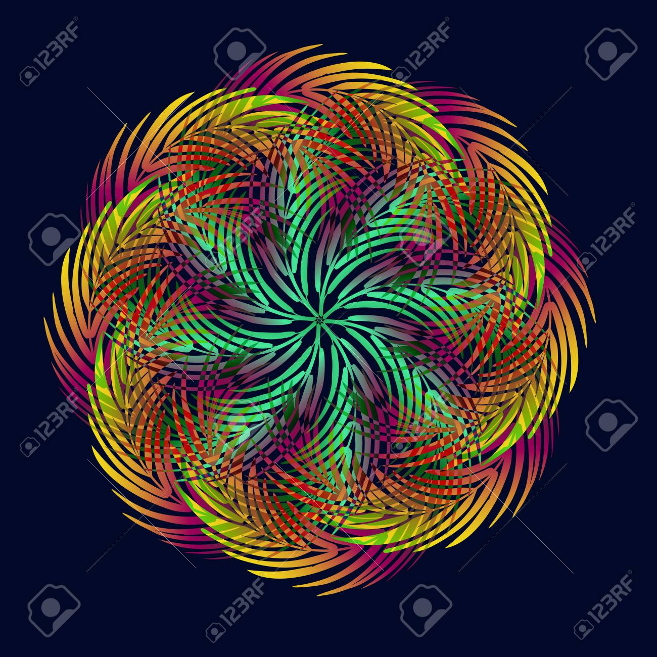 Stylized Mandala From Leaves Of Palm Trees In The Colors Of The ...