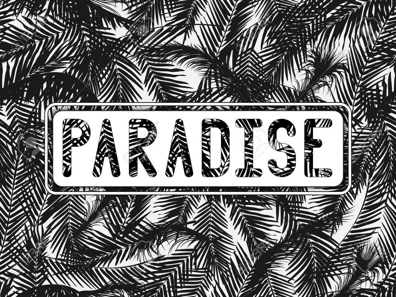 La Inscripción PARADISE Tallada En Un Marco Doble Blanco Sobre Fondo ...