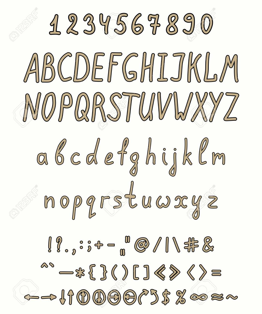 Handwritten Font With A Full Set Of Capital And Lowercase Letters Numbers Punctuation Marks