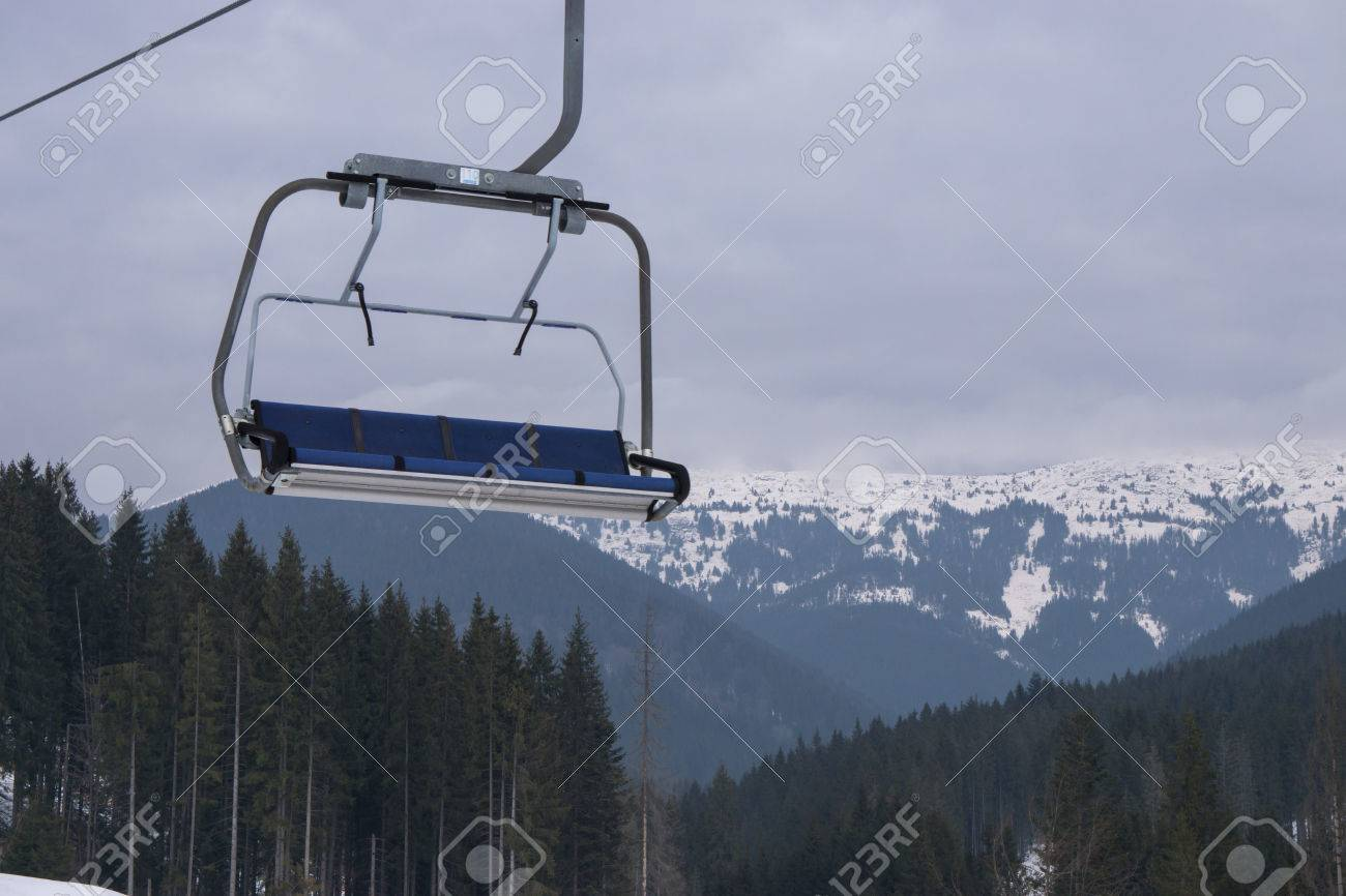 Empty Four Seats Ski Snowboard Chairlift Lift At Ski Resort With ...