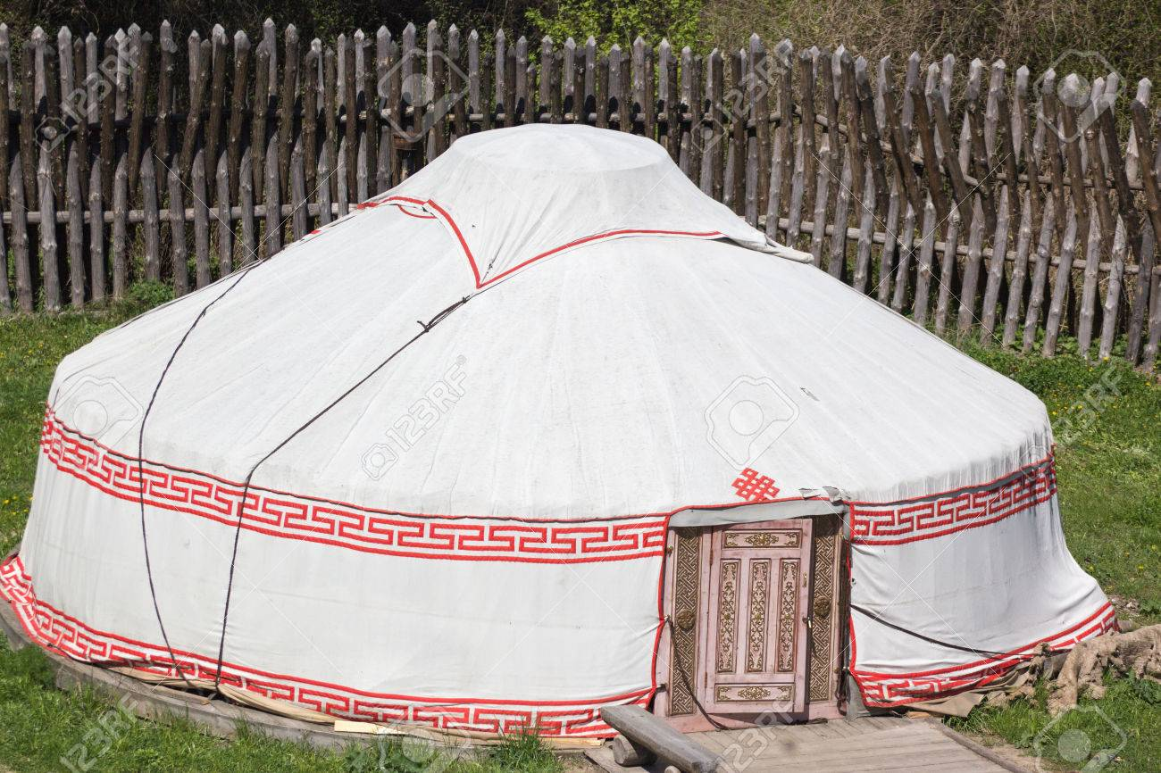 ancient medieval round marching white military textile tent in