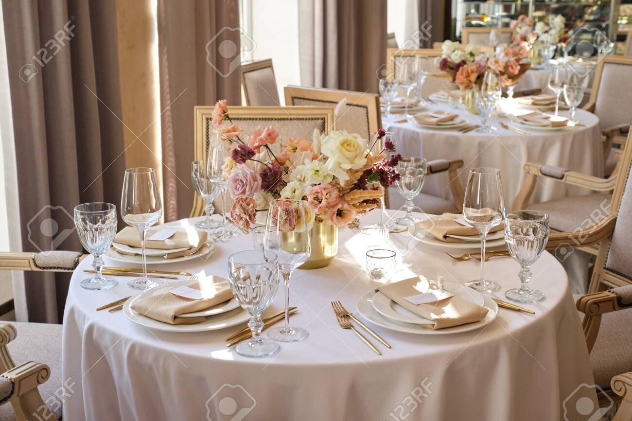 Luxury Cozy Autumn Wedding Table Decoration In The Restaurant Stock Photo Picture And Royalty Free Image Image 145109700