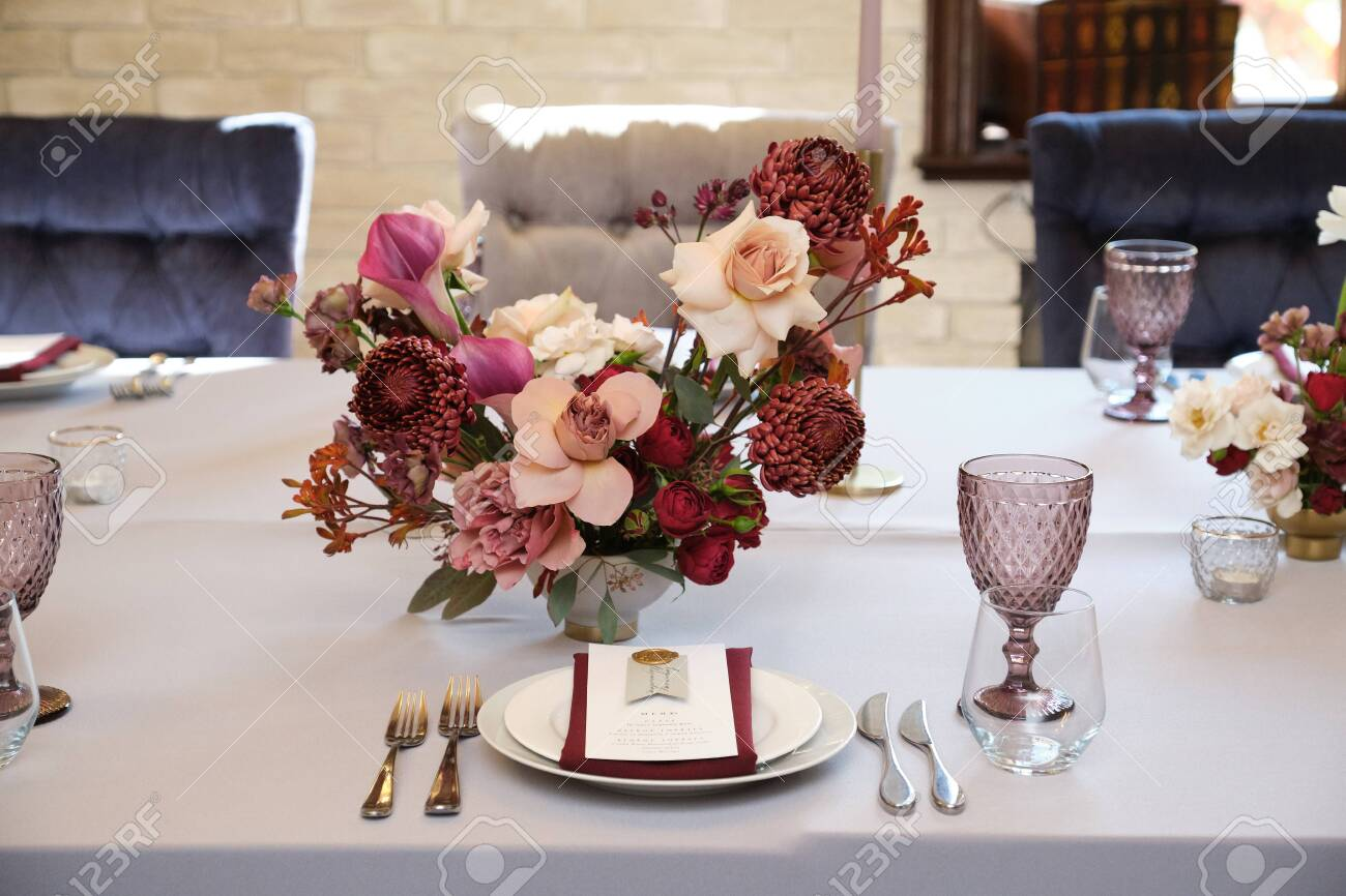 Luxury Cozy Autumn Wedding Table Decoration In The Restaurant Stock Photo Picture And Royalty Free Image Image 145605960
