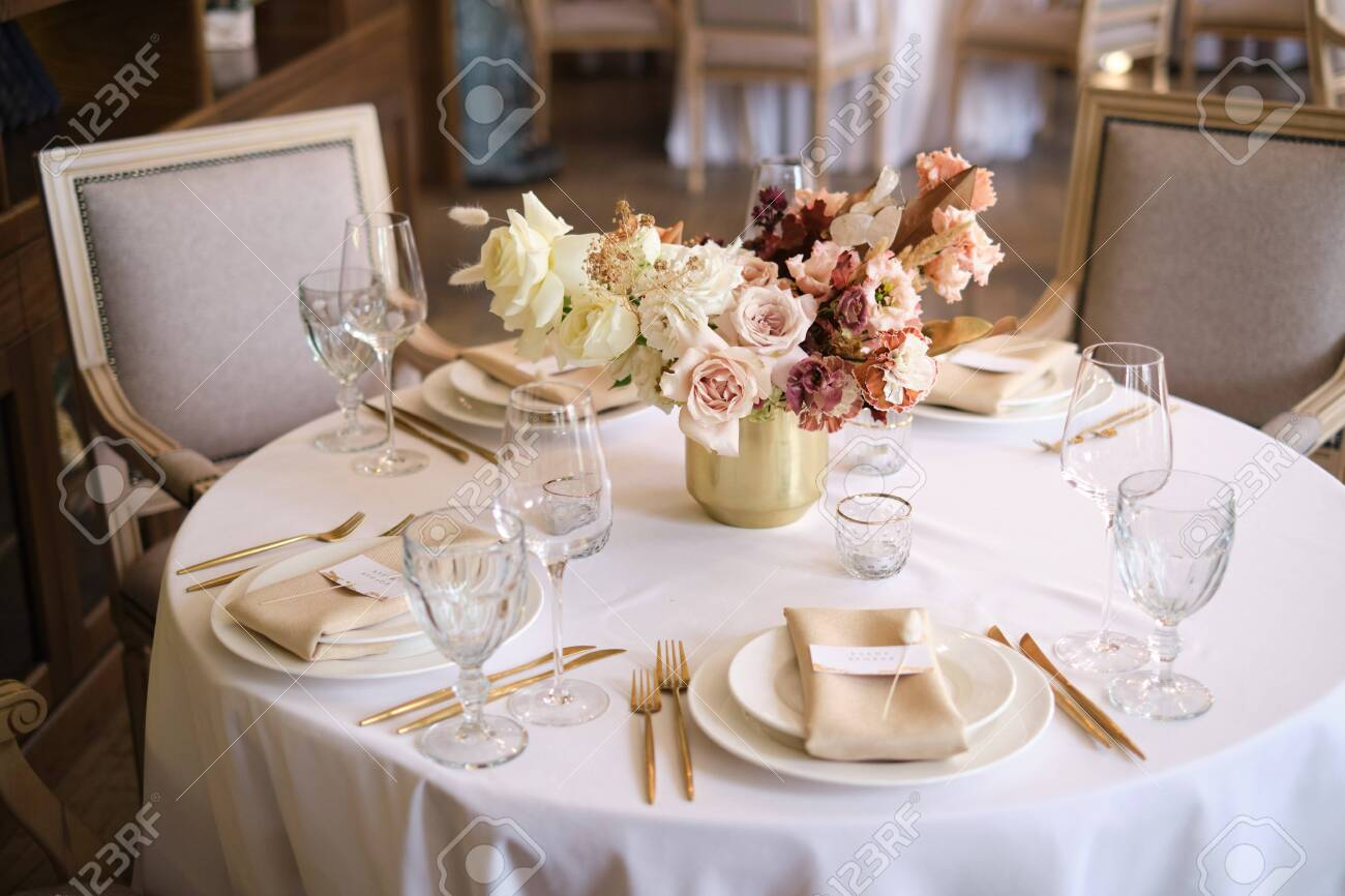 Luxury Cozy Autumn Wedding Table Decoration In The Restaurant Stock Photo Picture And Royalty Free Image Image 145605964