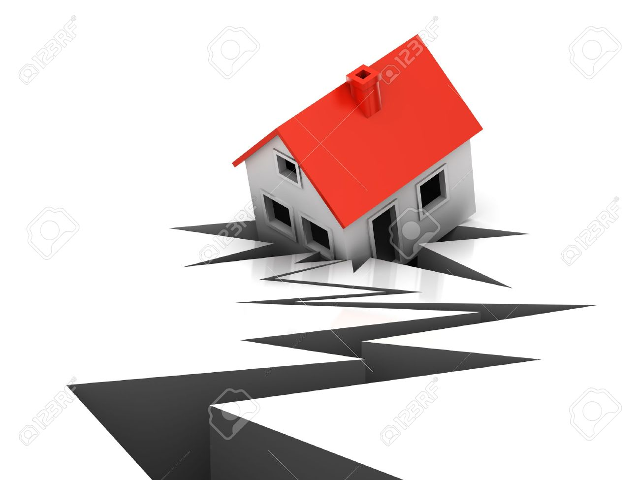 The house has failed in a crack during earthquake Stock Photo - 11575537