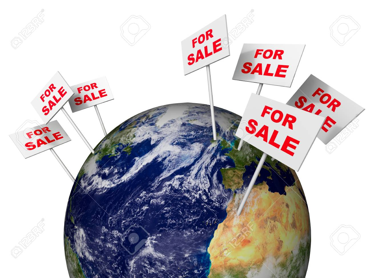 Notice for sale on globe isolated Stock Photo - 18285074