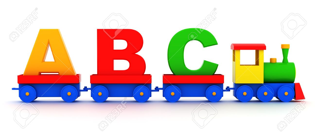 letters abc in toy train carriages on a white background stock photo 31275915