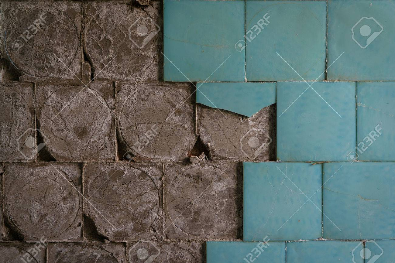 Old Ceramic Floor Tiles Falling Off From The Wall Stock Photo ...