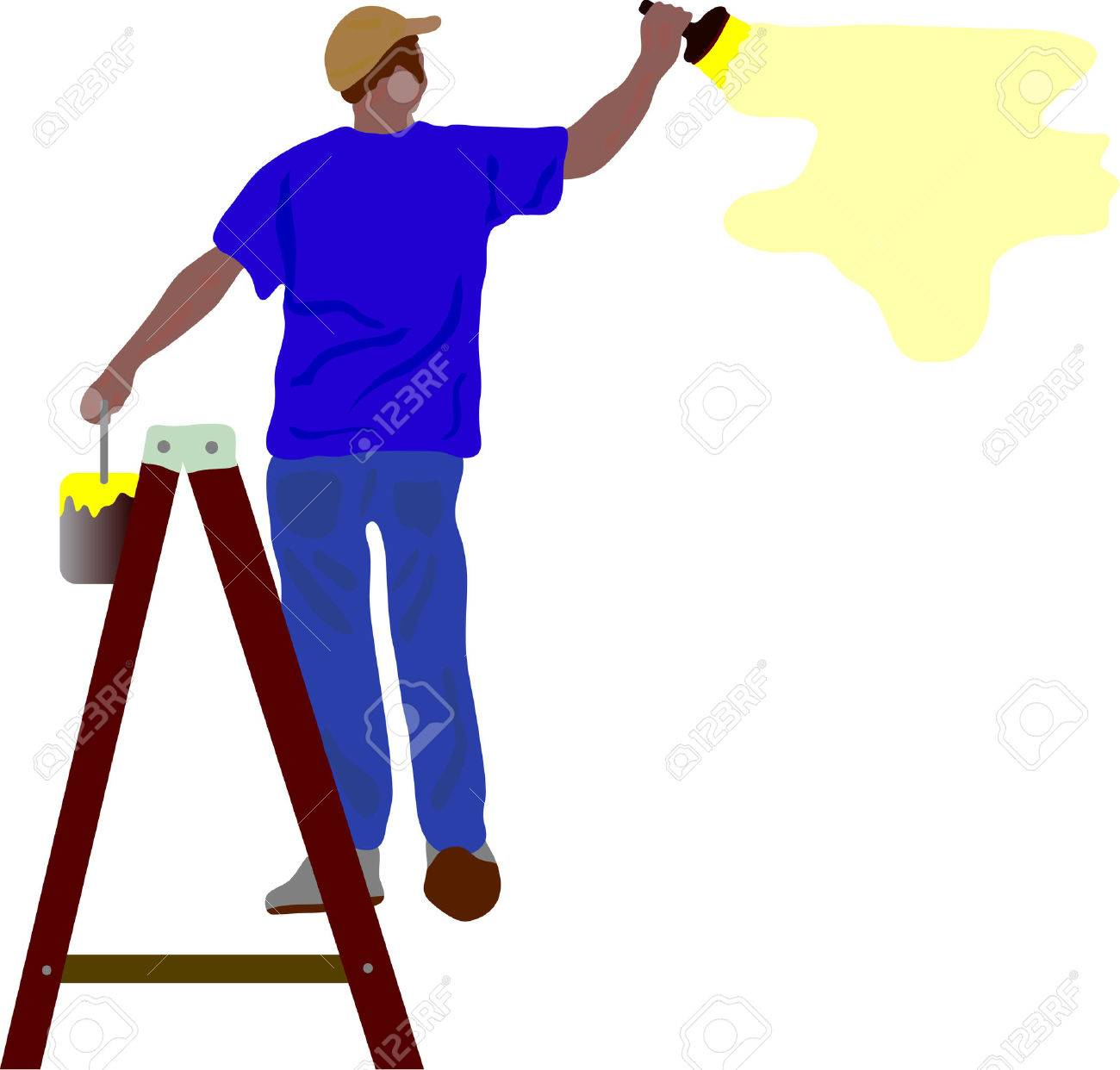 Paint Step Ladder Step Ladder Vector Worker
