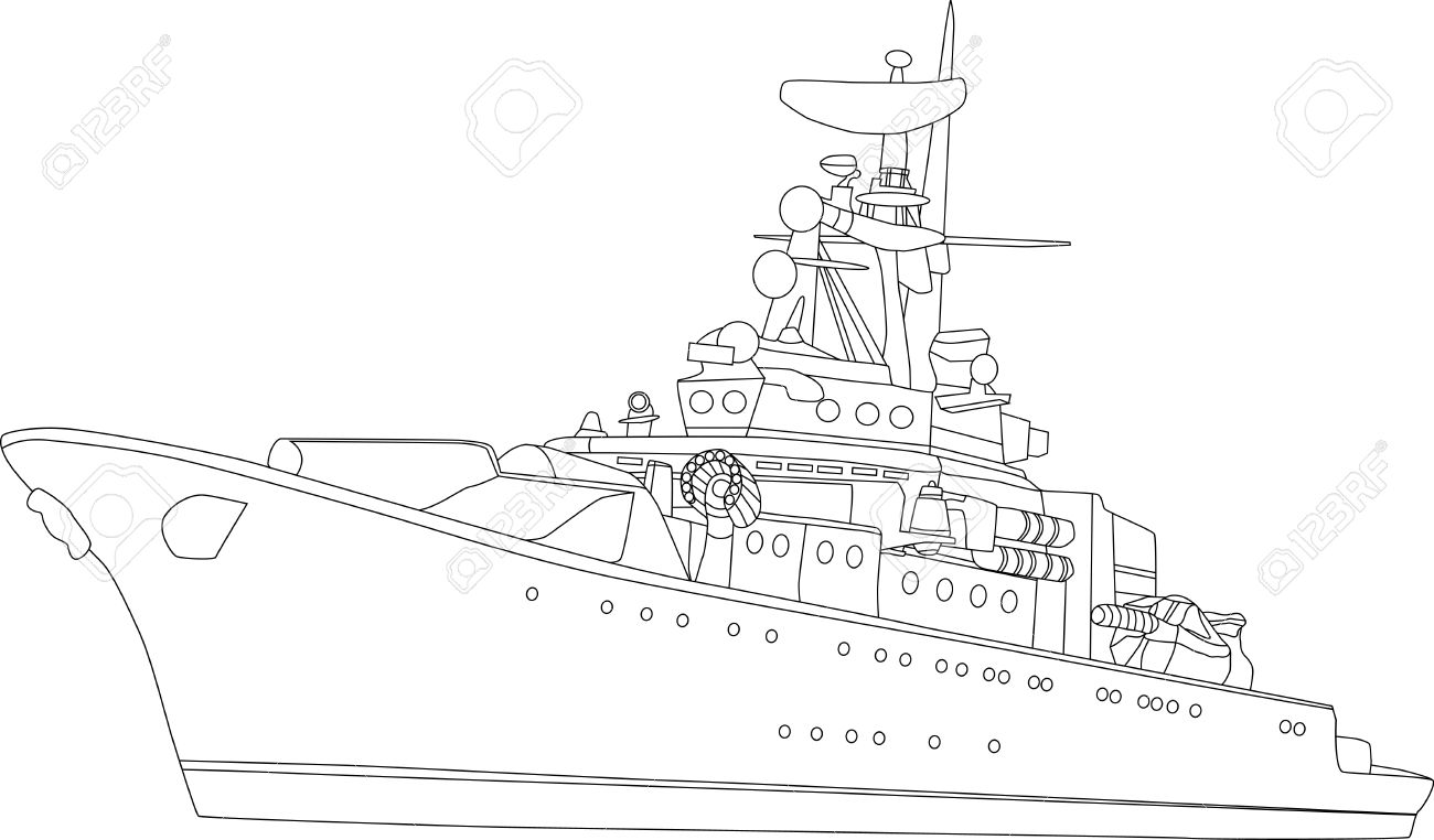 vector battle ship isolated on white background Stock Vector - 4325098