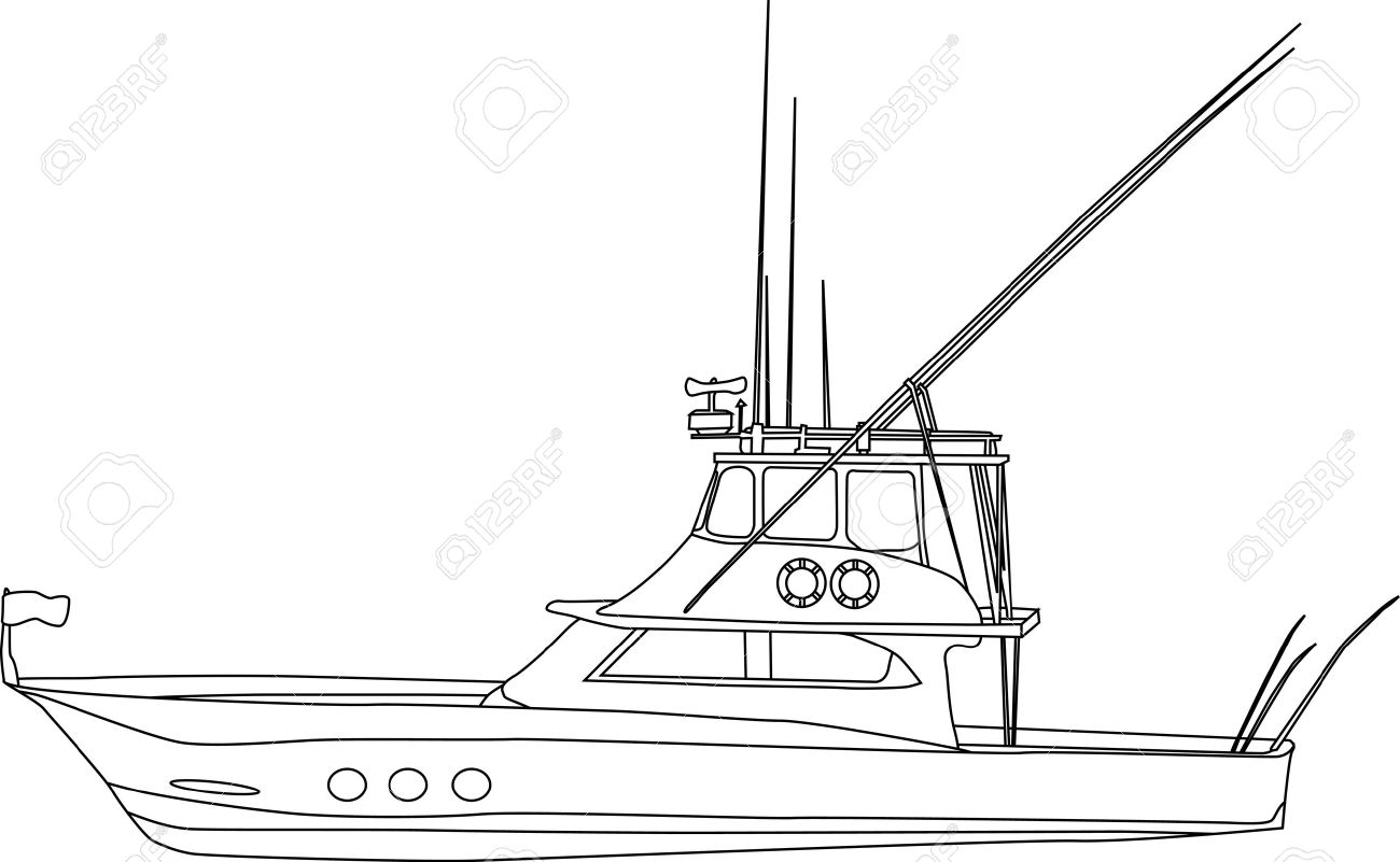 vector contour fishing boat isolated on white background royalty