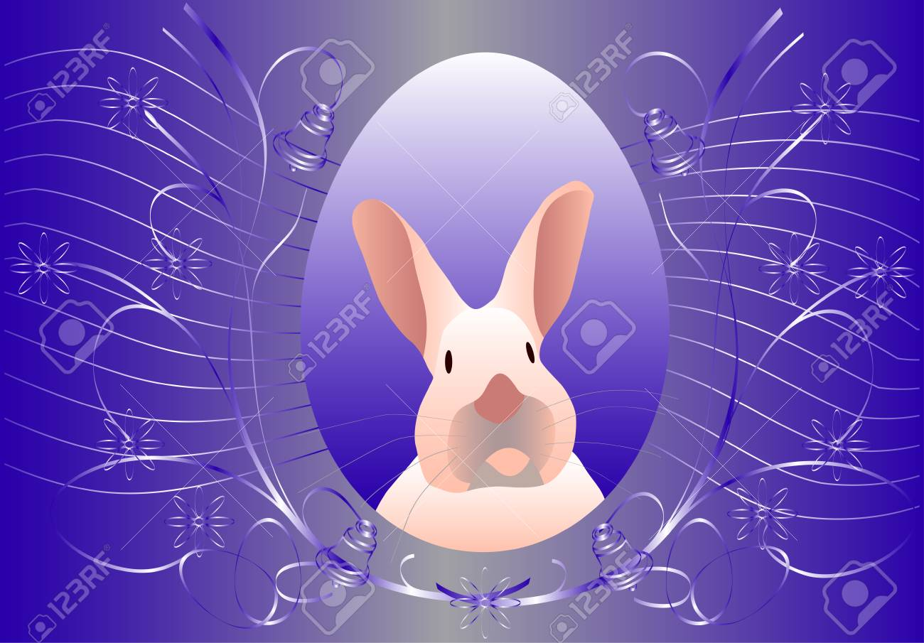vector - easter  rabbit  with floral elements Stock Vector - 4984268