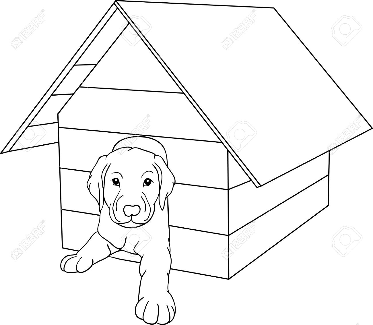 House outline picture - House Dog Isolated On Background Stock Vector 6596682