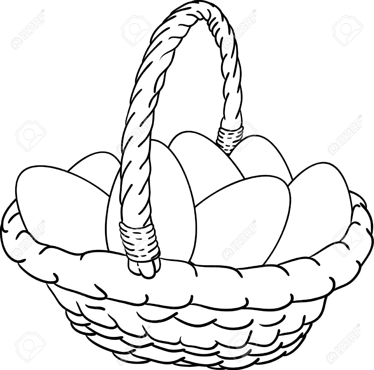 Vector - Basket Of Easter Eggs Royalty Free Cliparts, Vectors, And ...