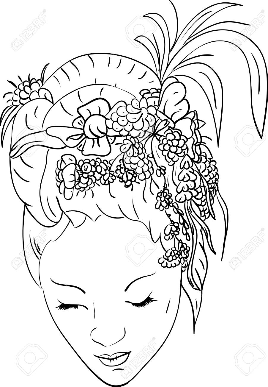 women with floral hair Stock Vector - 7033147