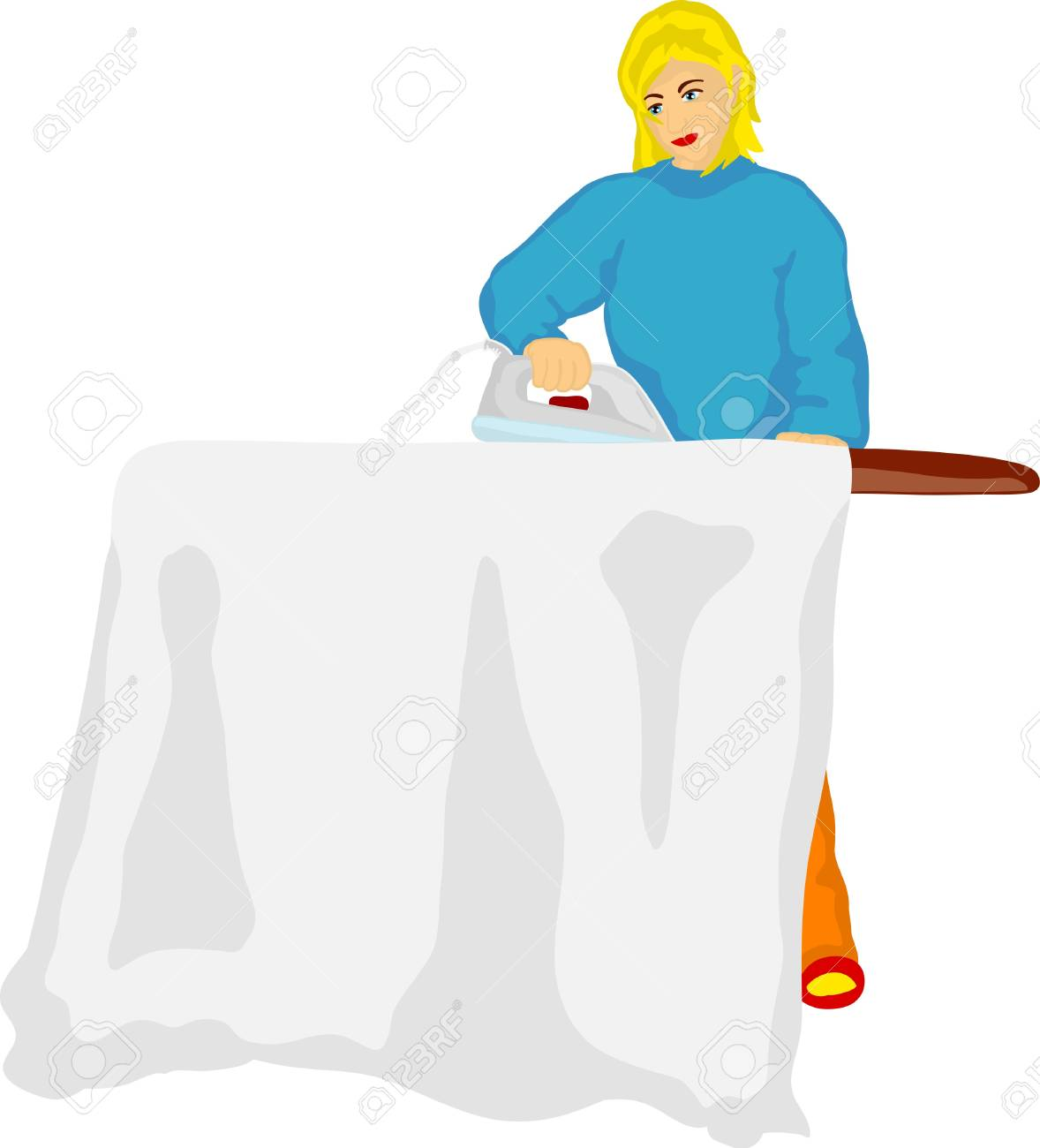 vector - Young woman ironing isolated on background Stock Vector - 9519265