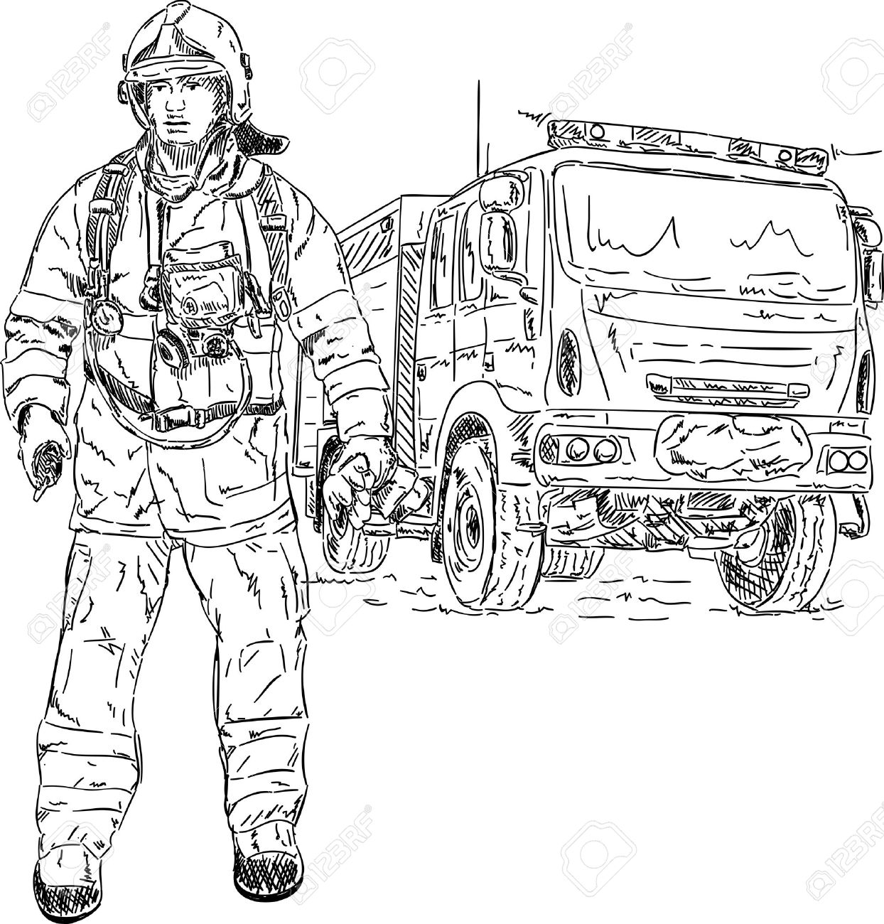 vector firefighter with engine hand draw isolated on background stock vector 9699898