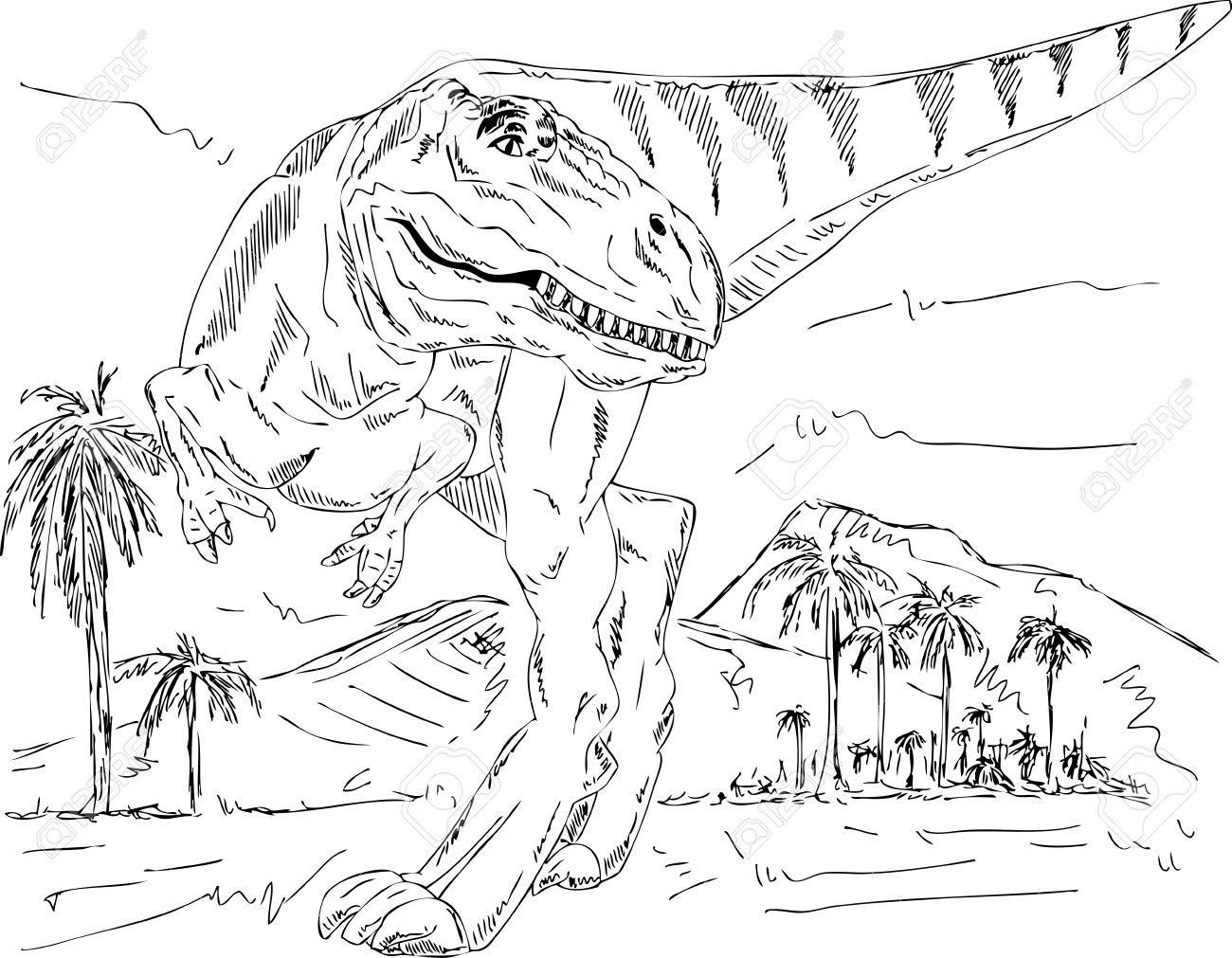 Fantástico Libre Para Imprimir Dinosaurios Para Colorear Composición ...