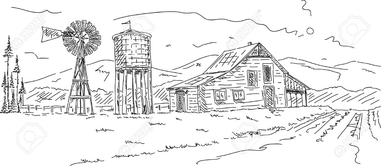 Vector Old Farm Under Mountains Hand Draw Royalty Free Cliparts