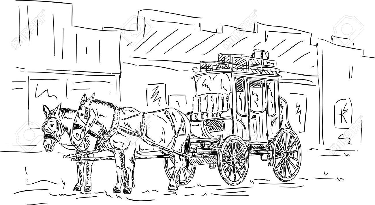 Horse Carriage Cartoon Horse Western Carriage Hand