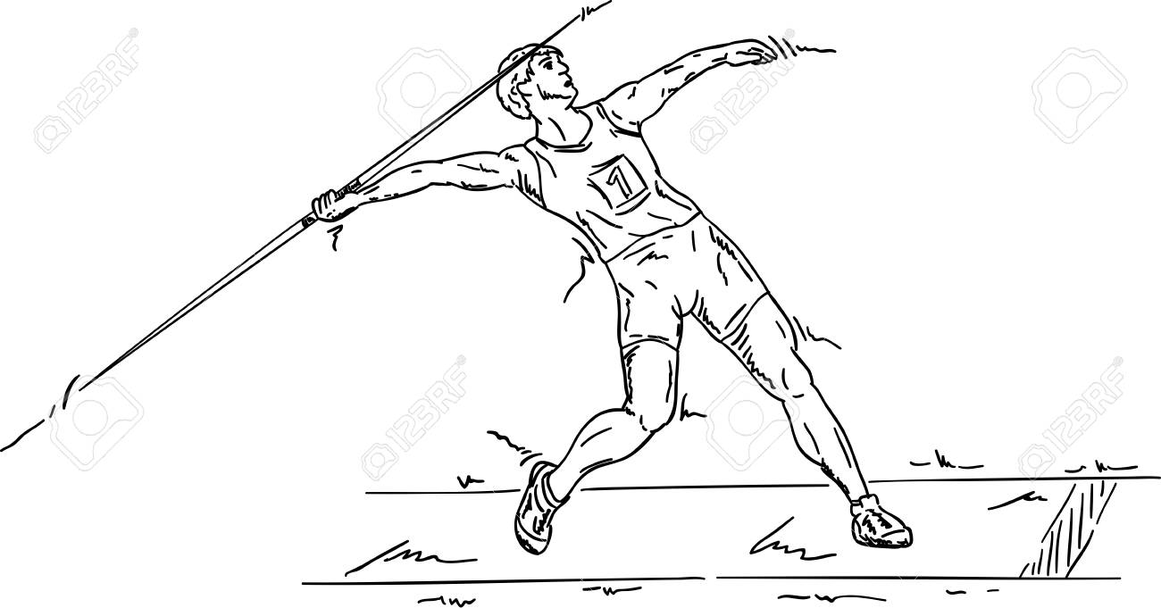 javelin male javelin isolated on background illustration