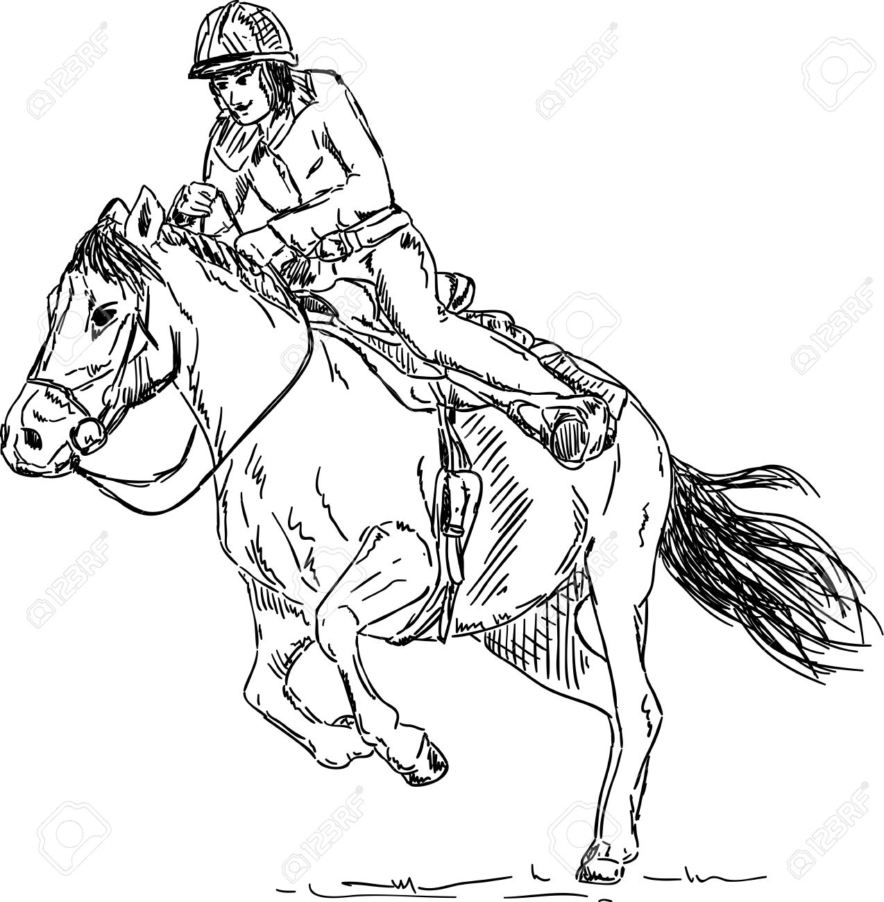 Cartoon Horse Jumping: Vector Girl Horse Rider Isolated On Background  Cartoon Horse Jumping Stock Photos How To Make