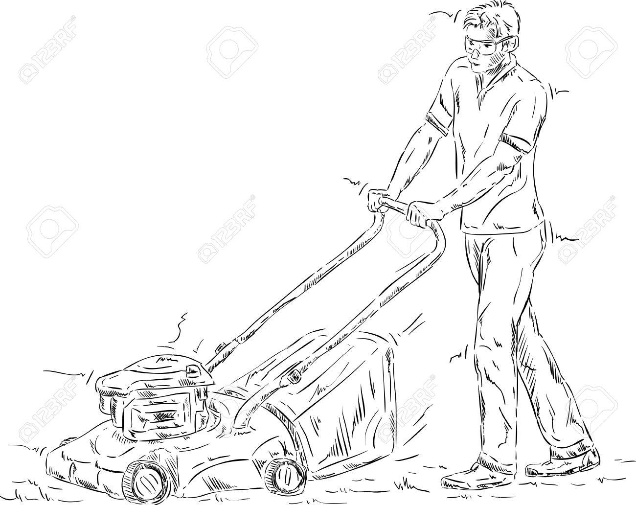 697 mow the lawn stock illustrations cliparts and royalty free