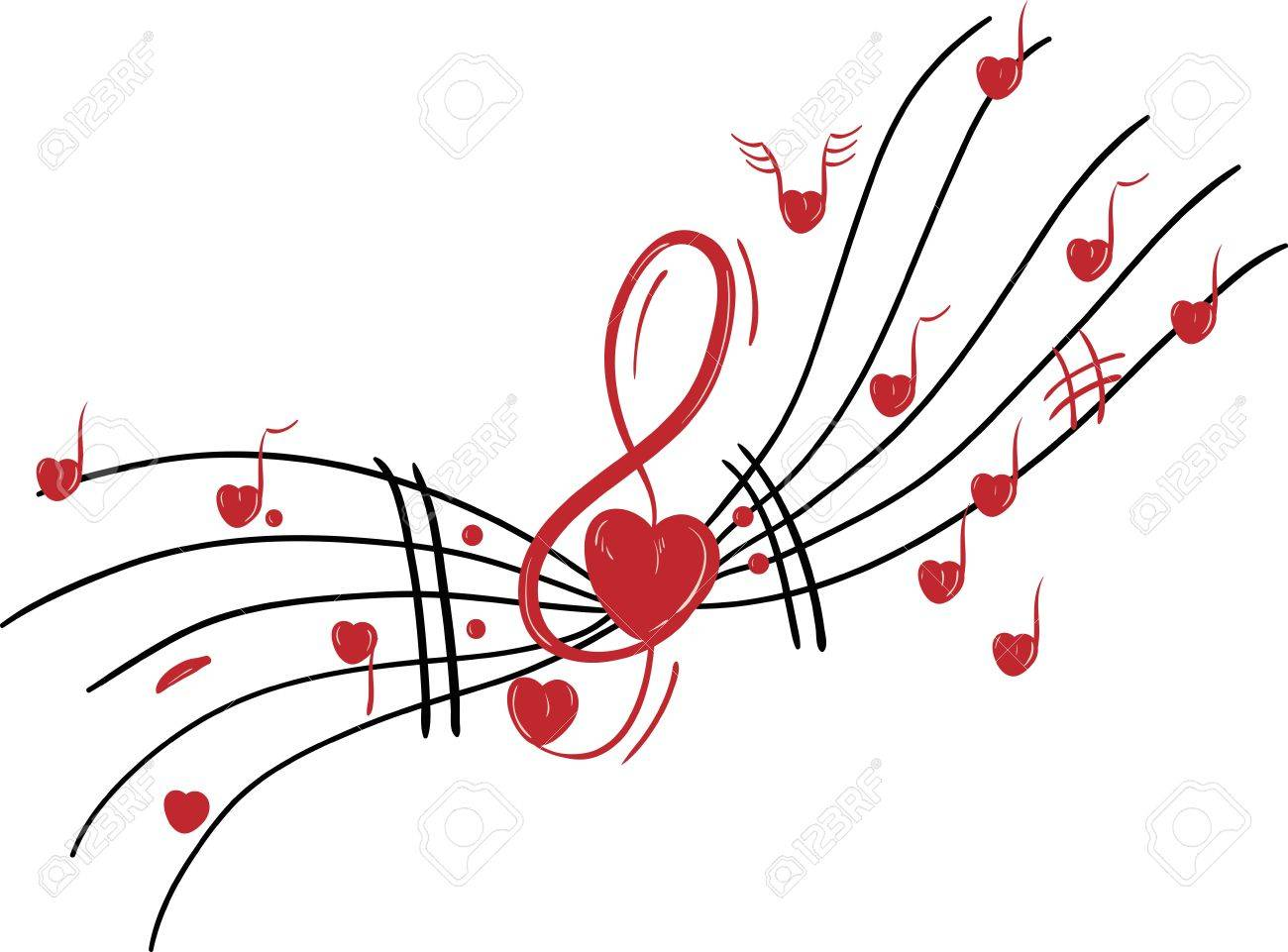 vector musical notes valentine theme hearts royalty free
