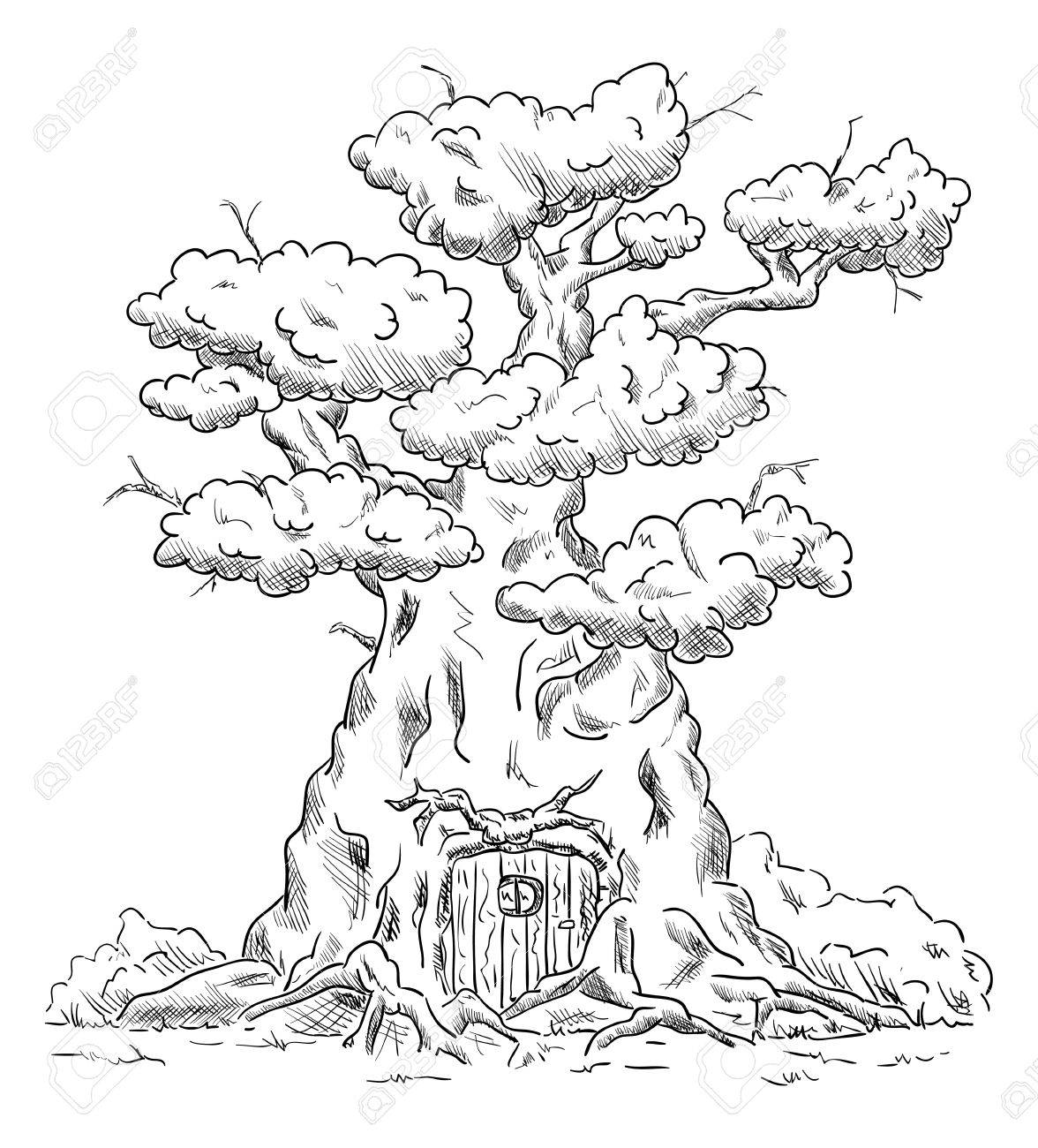 Vector Old Big Tree House With Roots Isolated On Background Royalty Free Cliparts Vectors And Stock Illustration Image 39555978