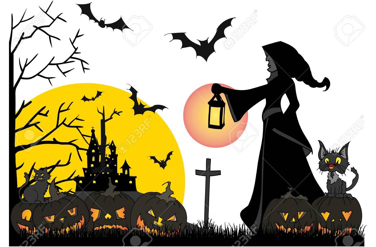 Halloween Thema.Vector Halloween Thema Op Achtergrond Wordt Geisoleerd Die