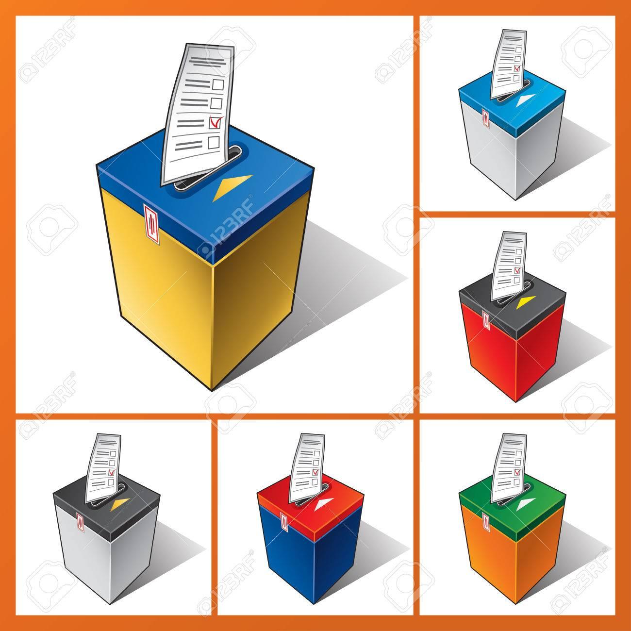 投票箱に投票用紙を落下。選挙で有権者を投票します。 ロイヤリティ