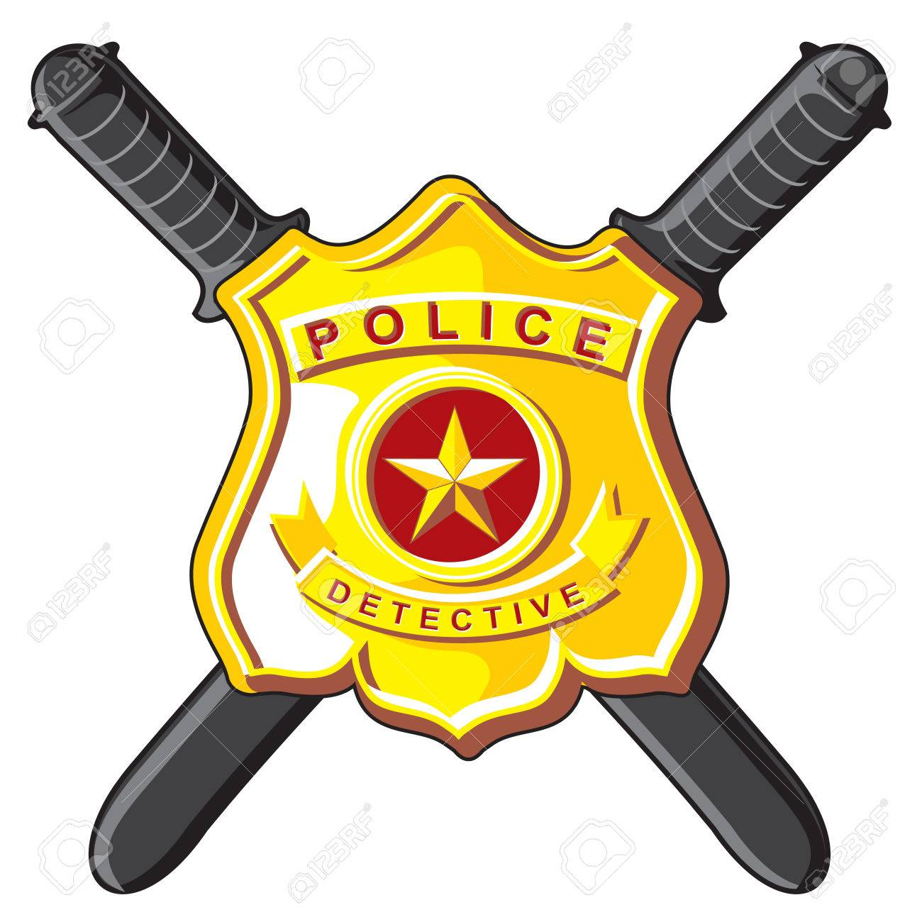 Police Symbols Metal Badge And Crossbones Batons Royalty Free