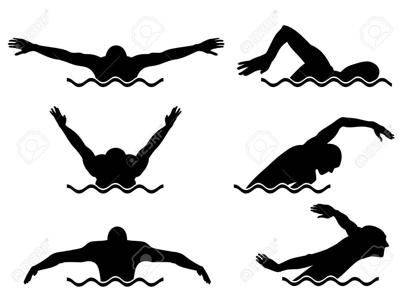 Vector illustration of a six swimmers set - 79131942