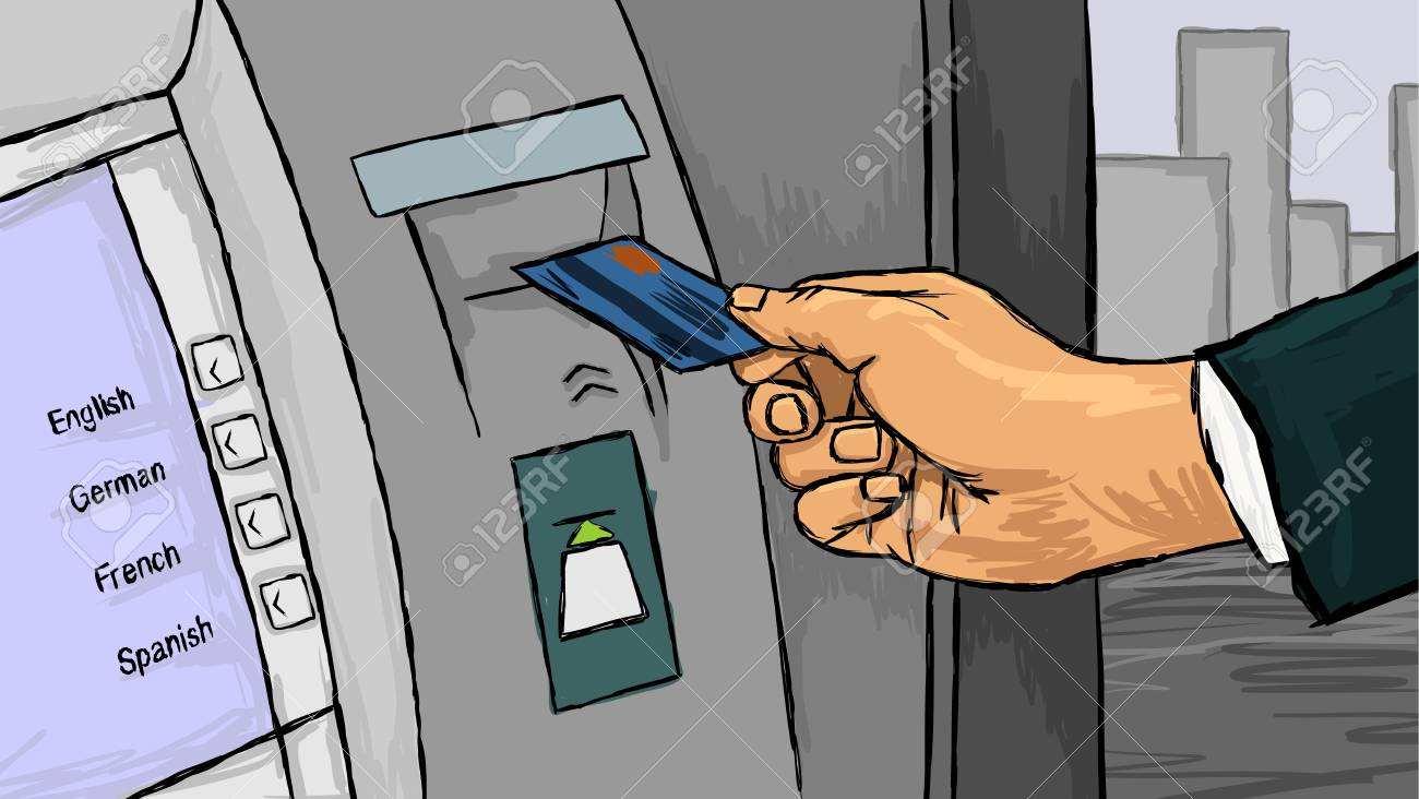 Vector illustration of a hand with credit card - 79809863
