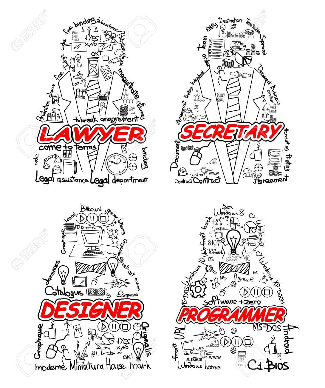 Vector illustration of a four professionals set - 80261371