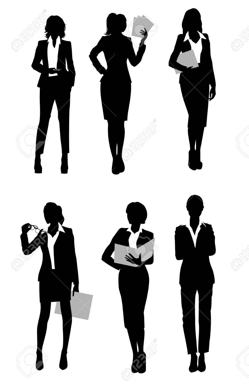 Vector illustration of a six businesswomen silhouette - 80261392