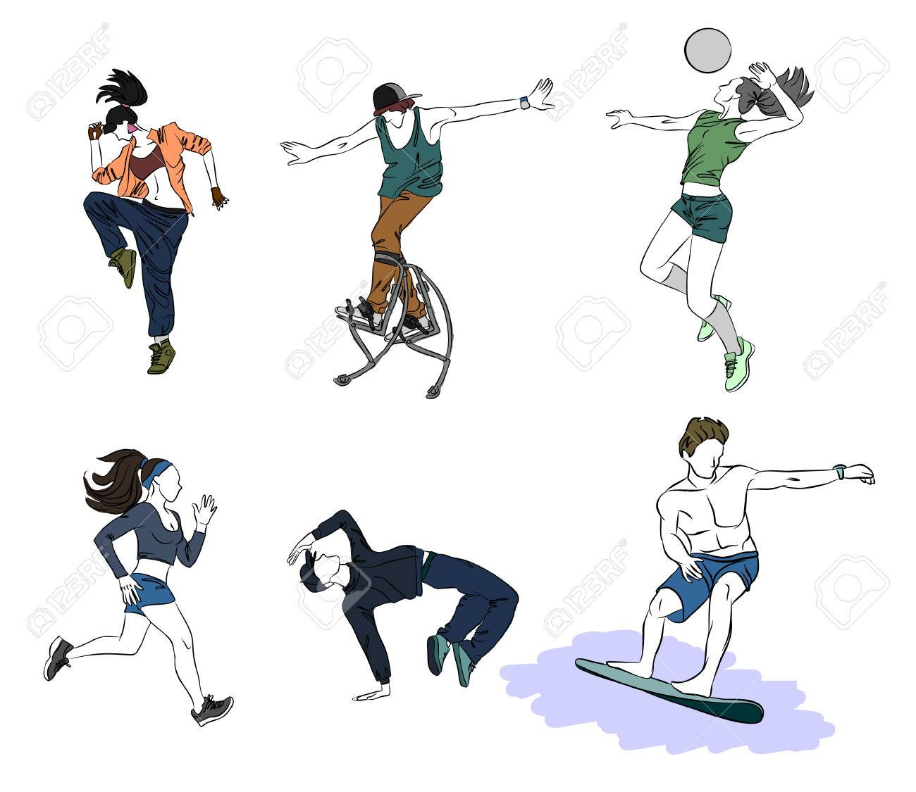 Vector illustration of a six teenagers silhouettes - 80261386