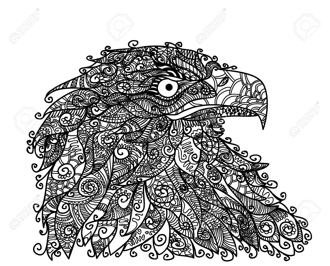 Vector illustration of eagle head on the white - 87041467