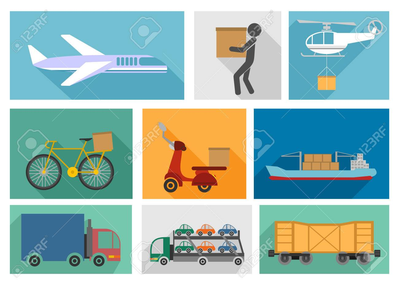 Vector illustration of the nine types of delivery - 87041472