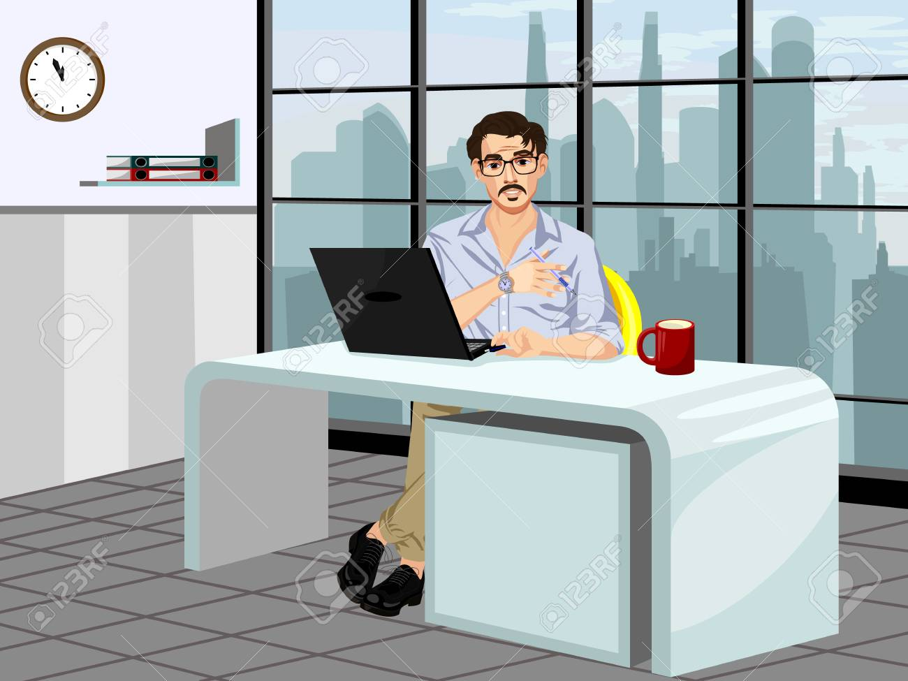 Vector illustration of a fashionable guy in the workplace - 87041483