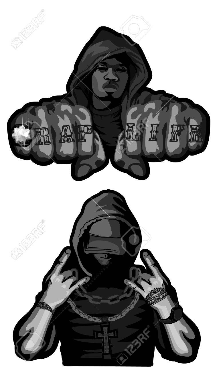 Vector illustration of two rappers on white - 87041484